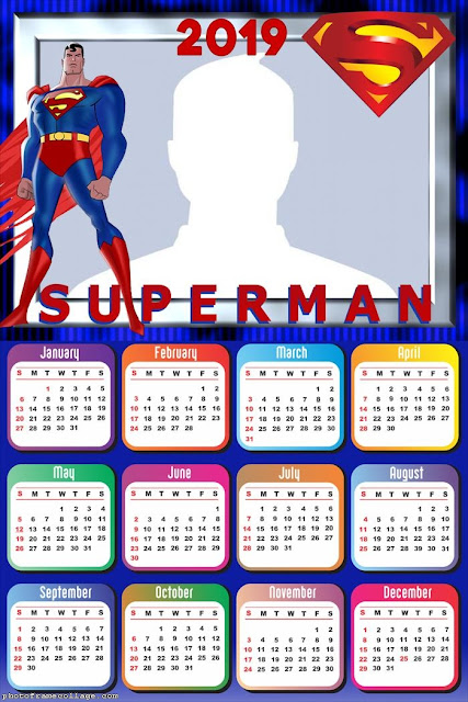Calendario 2019 de Superman para Imprimir Gratis.