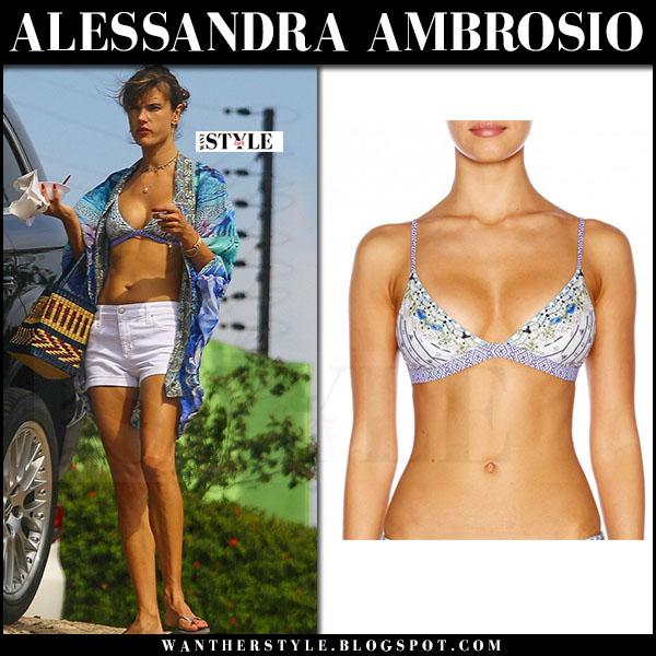 Alessandra Ambrosio in blue printed bikini top camilla and white shorts what she wore
