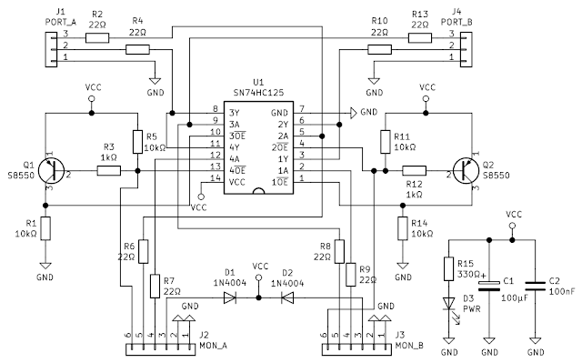 Hardware serial port monitor schematic