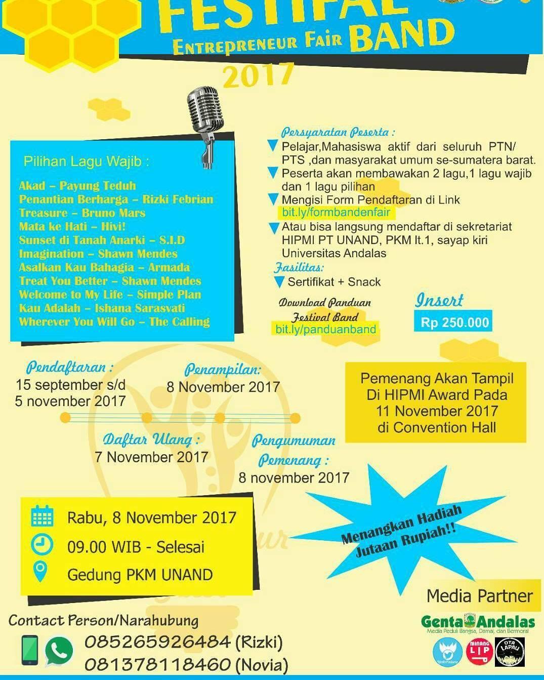 Lomba Band Entrepreneur Fair 2017 | Univ. Andalas | Umum
