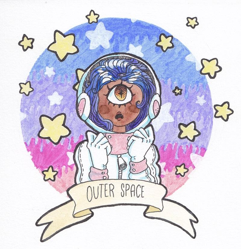cyclope astronaute la tête dans les étoiles