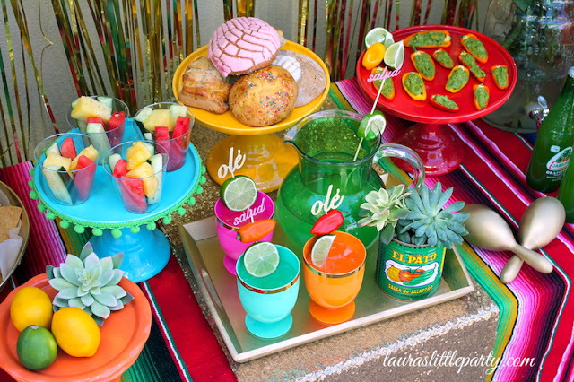 fiesta, colorful, party, colored cake plates