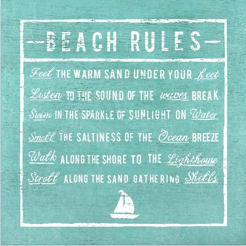 Vintage Beach Rules Wall Plaque Aqua