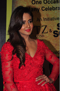 Actress Model Parul Yadav Stills in Red Long Dress at South Scope Lifestyle Awards 2016 Red Carpet  0012.JPG