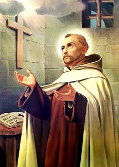 Dibujo de Juan de la Cruz frente a una cruz