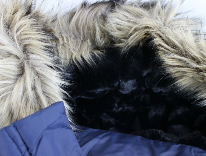 Ichi Ramblin' Glam Coat in blue hood