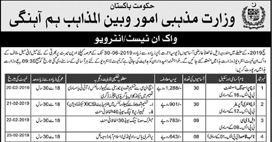 Ministry of Religious Affairs & Interfaith Harmony Jobs 2019-Shakirjobs