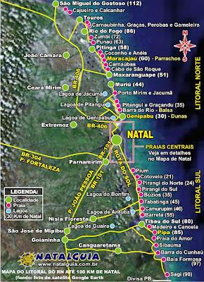 Mapa das praias do Rio Grande do Norte