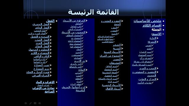 44 - تحميل كتاب الكتروني شامل لقواعد اللغة العربية بتقنية ppt يصلح للداتا شو