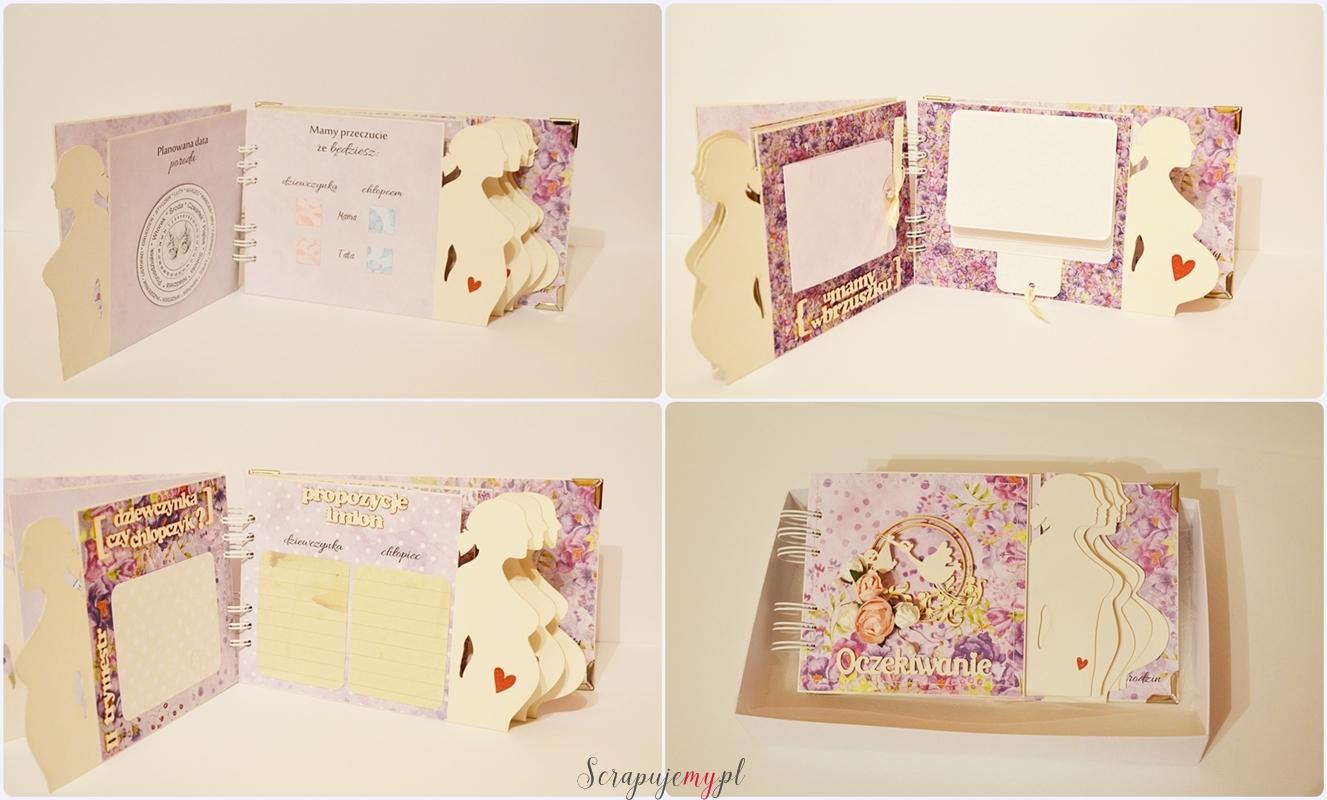 Mały album ciążowy, Album z brzuszkiem, fioletowy album z ciąży, album 9 miesięcym, fioletowy album, album ciąża, album ciazowy