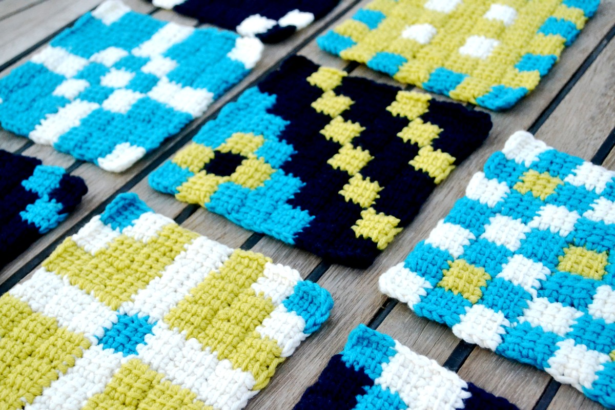 Cup of Stitches: FREE PATTERN: Tunisian Entrelac Motif #1