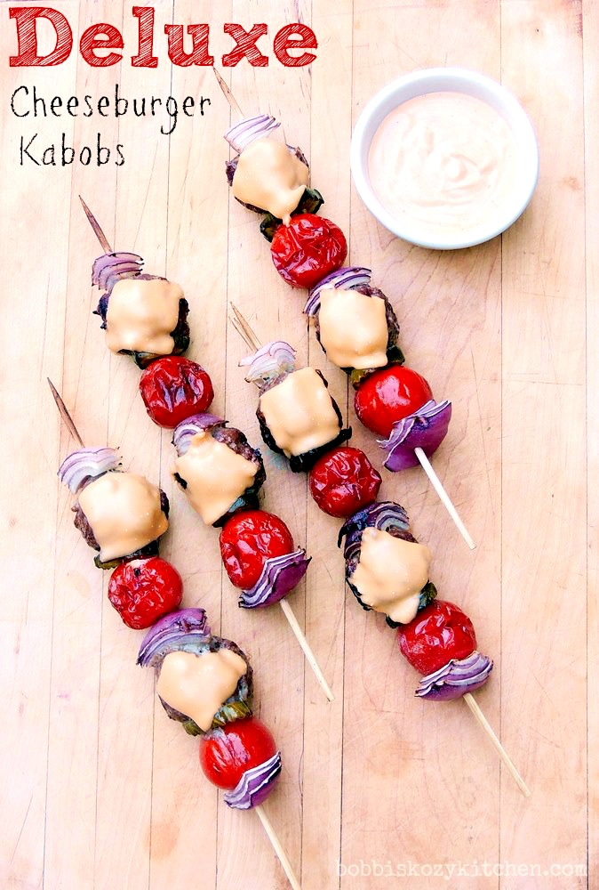 This cheeseburger kabob recipe is fun for the whole family.  Low-carb and keto friendly, this easy to make recipe is sure to be a hit! Who doesn't love tasty food on a stick? #beef #keto #lowcarb #lchf #bbq #grilled #easy #kabob #kebab #recipe | bobbiskozykitchen.com