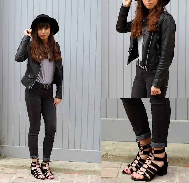Black lace up heels from Minelli, skinny zara and a grey t shirt