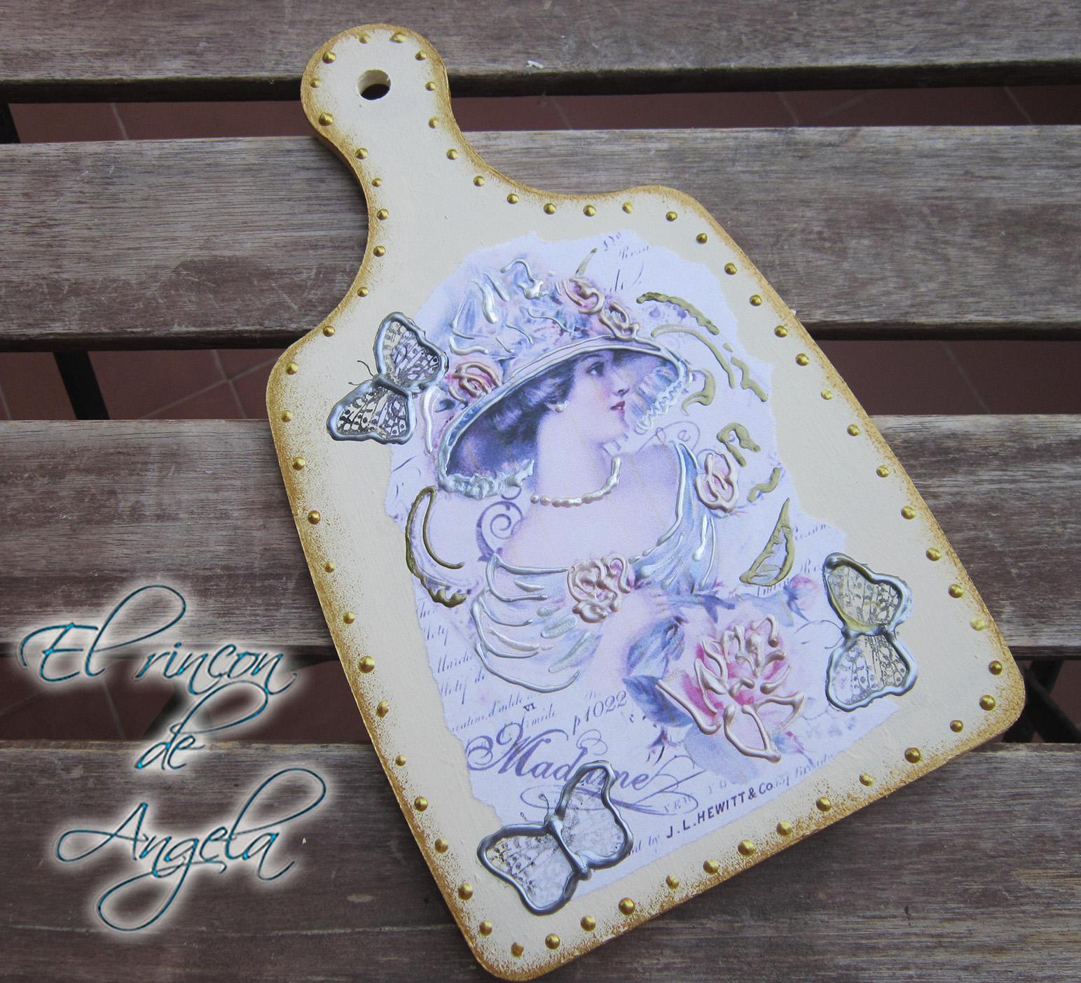 El rincon de angela decoupage y perlas liquidas para decorar - Decorar tabla madera ...