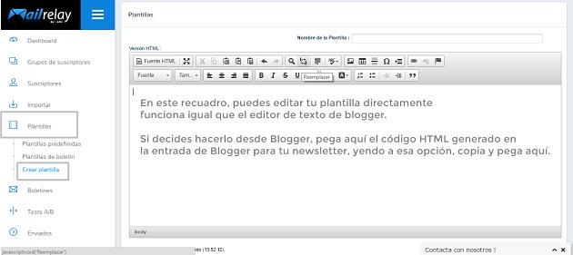 editor texto de mailrelay