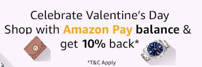 Amazon Valentine Day Discount Offer - 10% Cashback When You Shop At Amazon Using Amazon Pay Balance