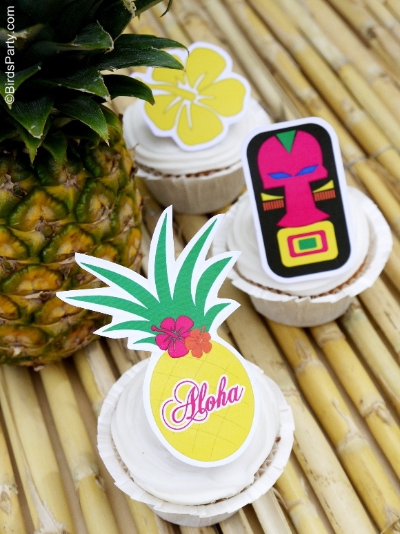 Hawaiian Tikki Luau Party with free printables - BirdsParty.com
