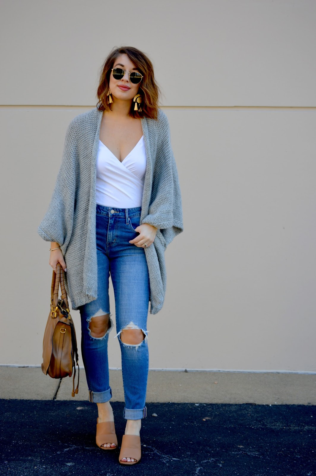 01ca4ef660 Poncho: Aerie (old, similar here), Bodysuit: J. Crew, Jeans: Levi's, Bag:  Chloe, Earrings: Sole Society, Mules: Sole Society, Sunnies: Ray-Ban