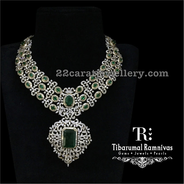 Three Tone Diamond Emerald Set