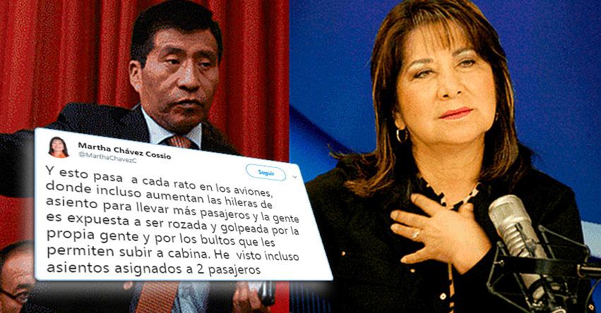 Es normal ser «tocado» en los pasillos del avión, según excongresista Fujimorista Martha Chávez