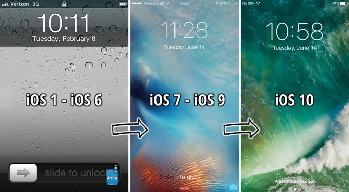 فتح القفل في iOS 10 بالضغط على زر الرئيسية