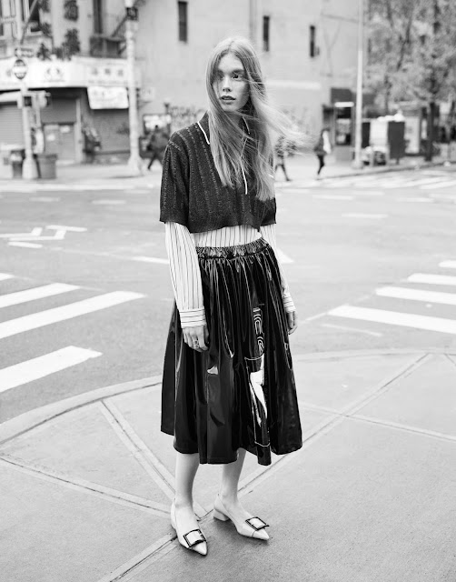 Julia Hafstorm with top, skirt and pumps by miu miu on Cool Chic Style Fashion