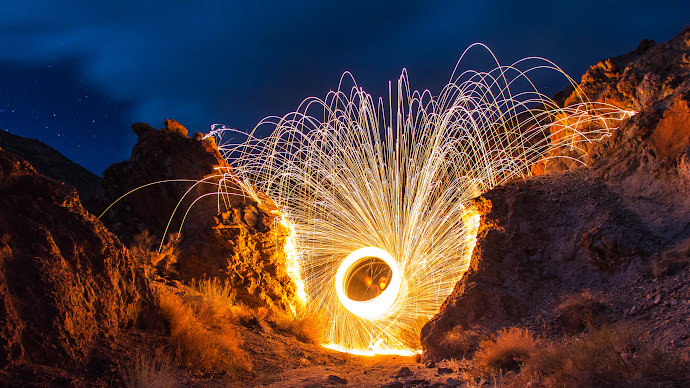Wallpaper: Playing With Fire. Steel Wool Spinning