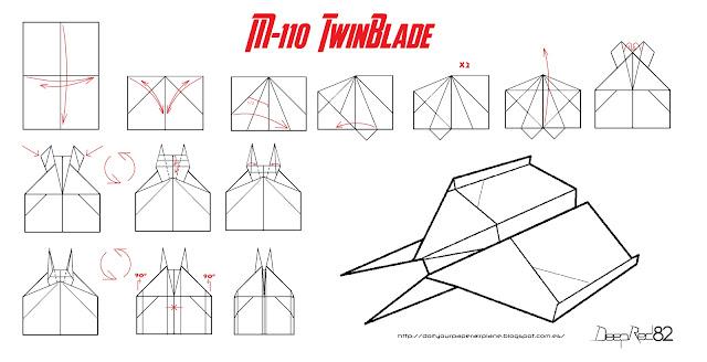 Infografía avión de papel M-110 TwinBlade