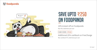 FoodPanda 10% Off + 25% Cashback Extra Offer Code