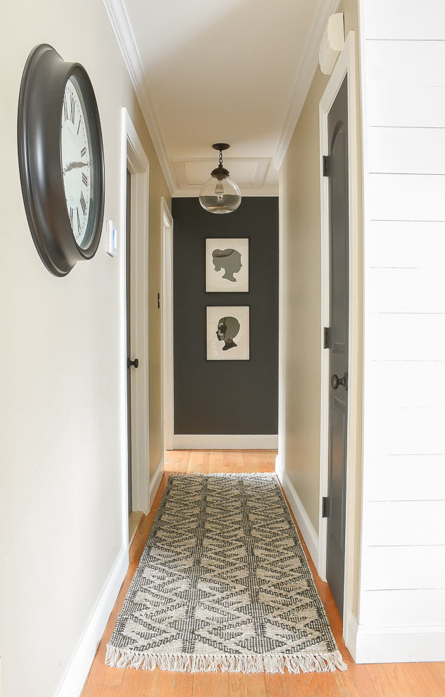 high contrast hallway makeover