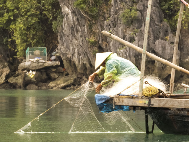 Fisherman on Halong Bay, Vietnam