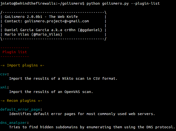 GoLismero, a new hacking tool for pentesting projects
