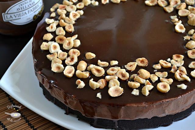 Cheesecake o tarta de queso de Crema de Avellanas sin horno