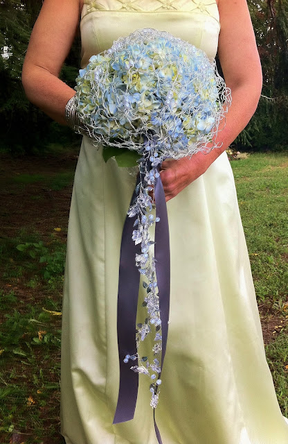 Silvered blue hydrangea bouquet by Stein Your Florist Co.