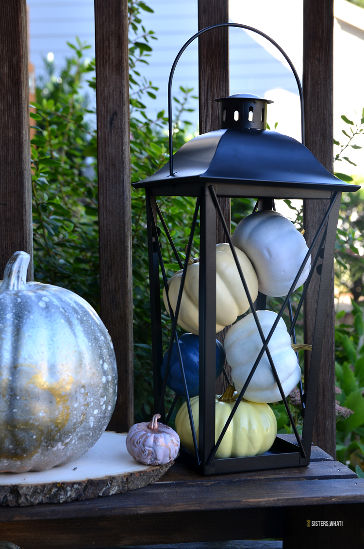 easy autumn decoration with colorful pumpkins decoration and black lanterns