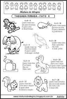 Tabuada rimada e ilustrada fato 4