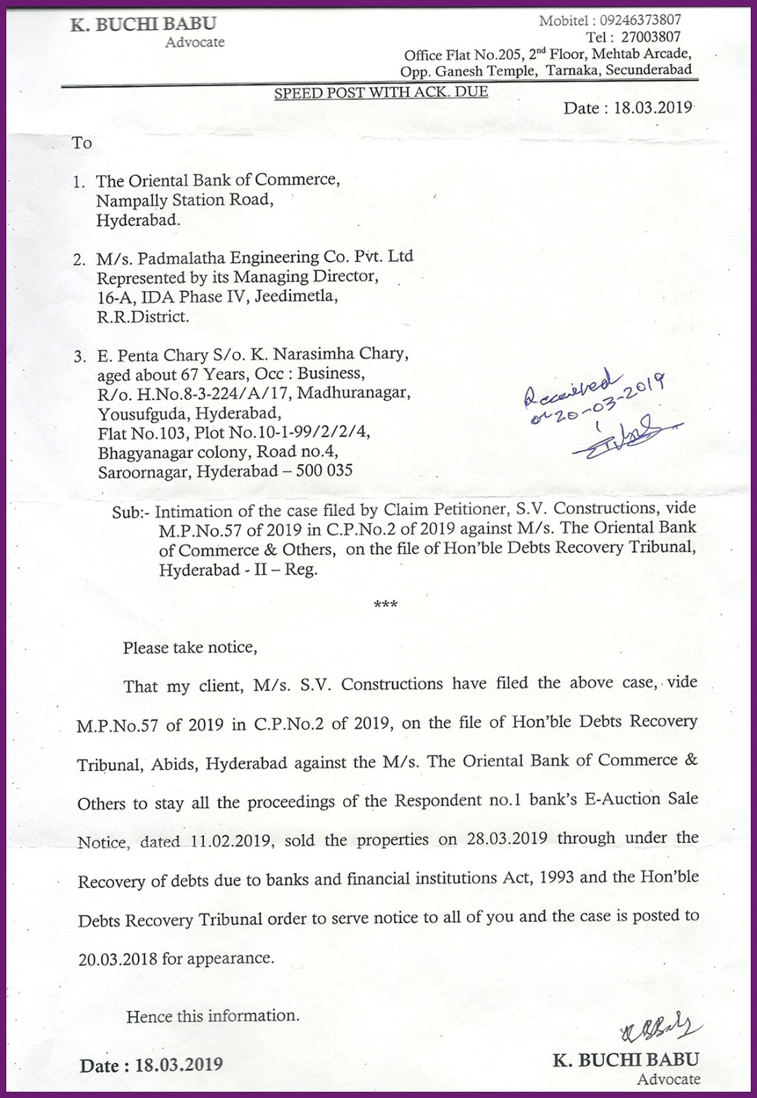 K.Buchi Babu Advocate, Debts Recovery Tribunal-Hyderabad