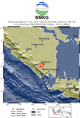 Pagi Ini Gempa Bumi Terjadi di Wilayah Lampung Utara