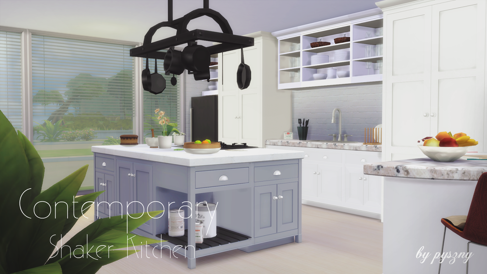 Contemporary shaker kitchen updated for Sims 3 kitchen designs