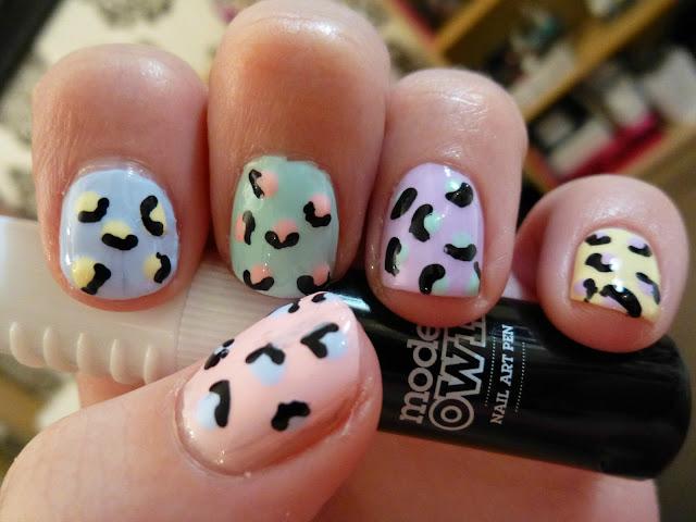 Pastel Leopard Print Nail Art