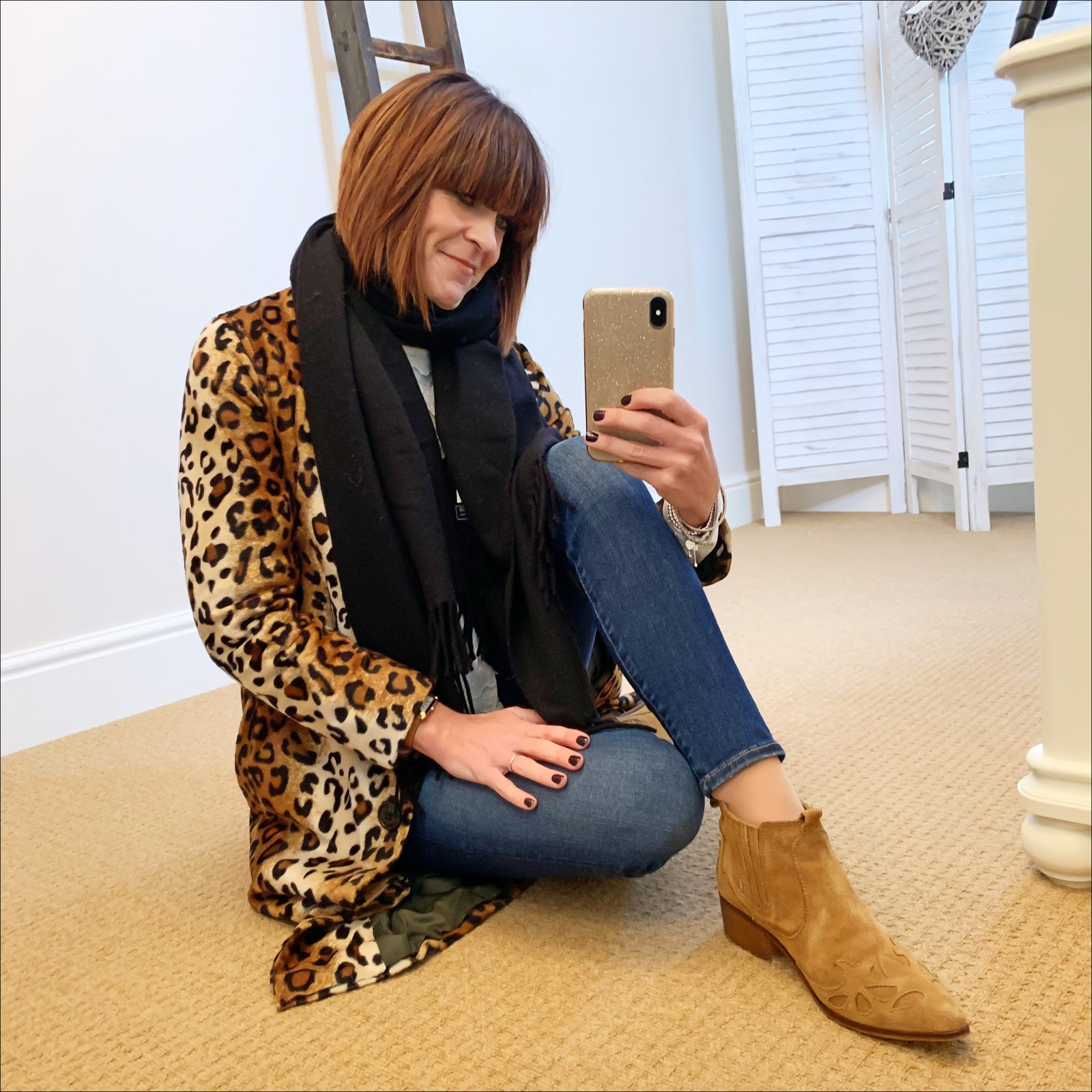 my midlife fashion, acne studios canada wool scarf, anthropologie helene barman lily skinny leopard print coat, zara broderie blouse, j crew 8 inch toothpick jeans, zara western heel ankle boots