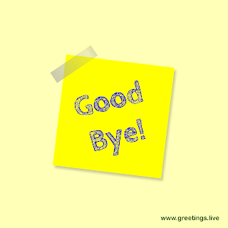Good bye message on stick note slip style image