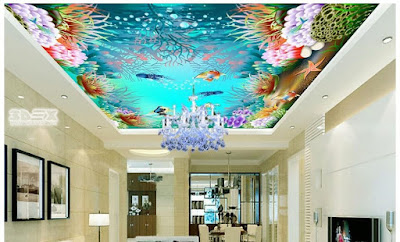 deep sea 3D false ceiling for sea food restaurants