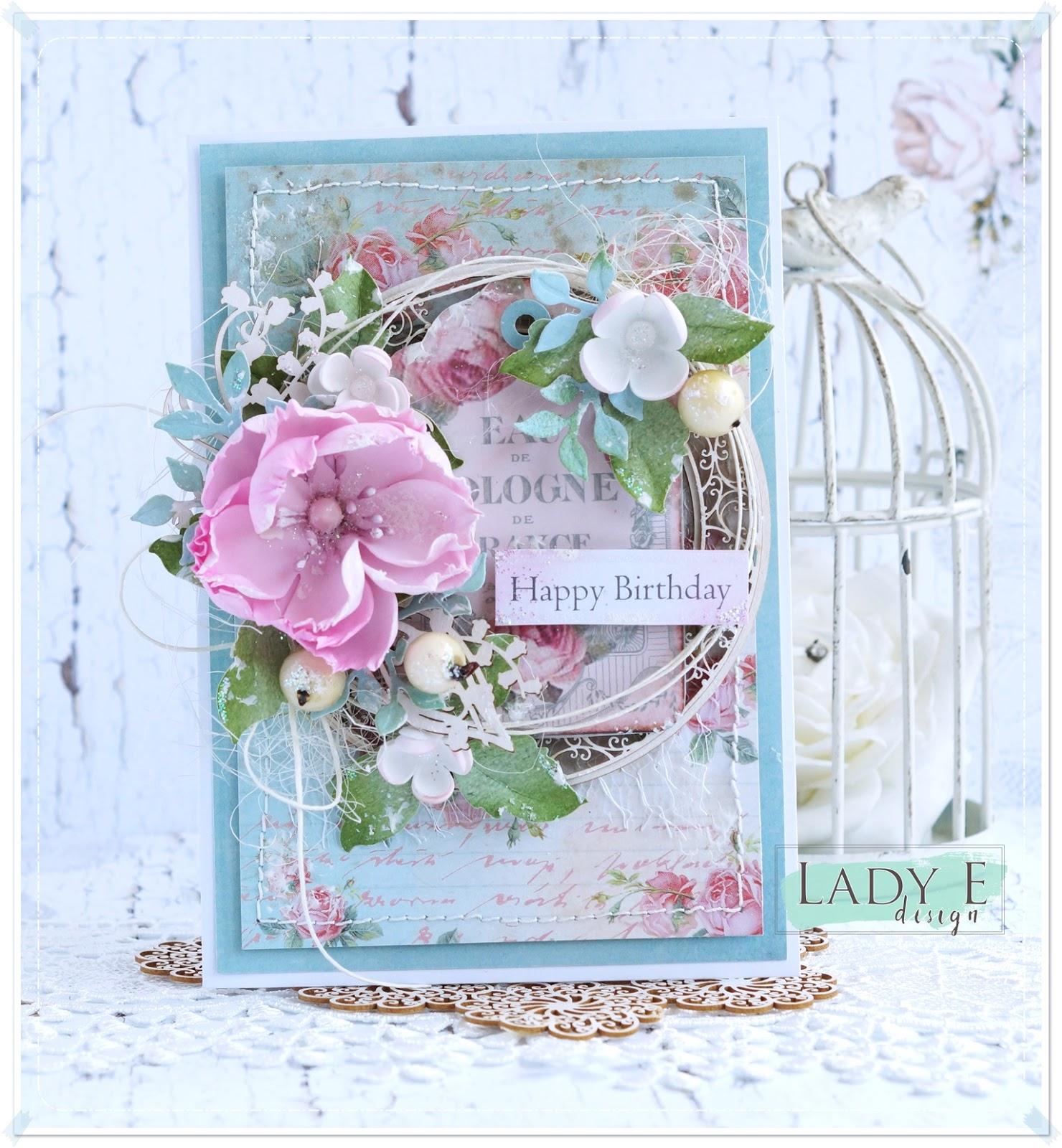 Birthday card with pink foamiran flower scrap art by lady e birthday card with pink foamiran flower izmirmasajfo