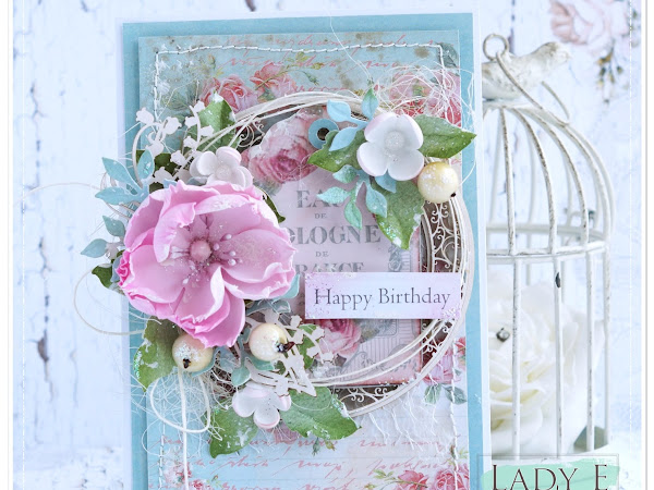 Birthday Card with Pink Foamiran Flower
