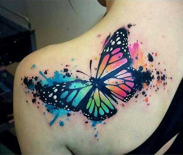 watercolor butterfly tattoo for shoulder