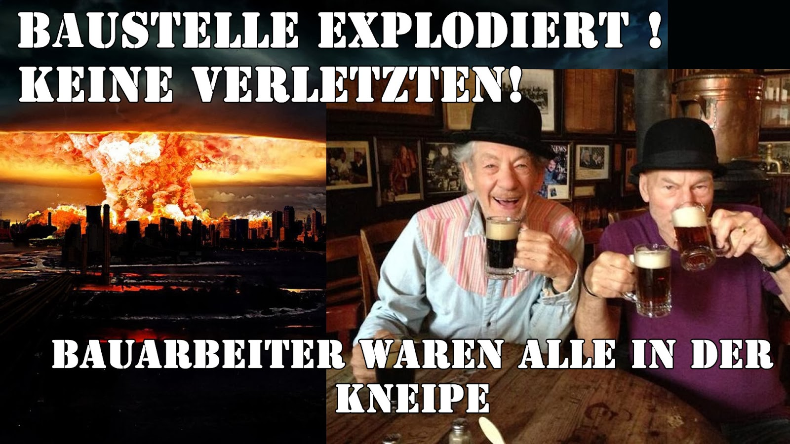 Baustelle Arbeiter in Kneipe lustige Humor Bilder Satire