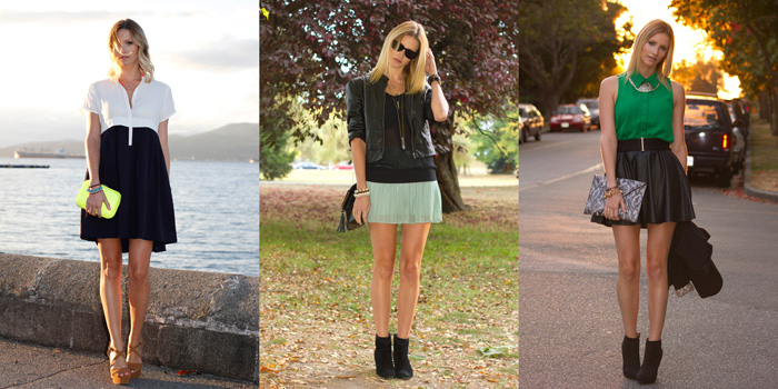 Vancouver Fashion Blogger wearing Sugarlips Polo Dress, Zara Neon Clutch, Zara Nude Wedges, Forever 21 Leather Jacket, Cue Sheer Top, XO Bella Mint Skirt, Urban Outfitters Boots, Green Top, Seduce Necklace, Leather Skirt, Snakeskin Clutch