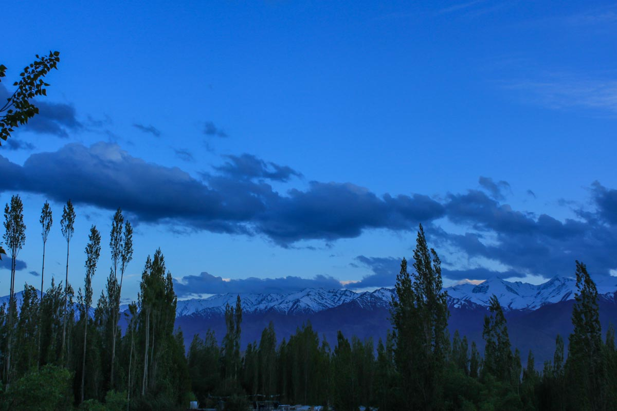 Leh at dusk, Ladakh