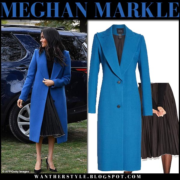 Meghan Markle in bright blue coat smythe and black midi skirt misha nonoo royal family style september 20